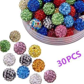 Page One 20 Colors Pave Ball Clay DIY Beads, Polymer Clay Rhinestone Beads Round Charms Jewelry Makings Single Color/Mixed Color
