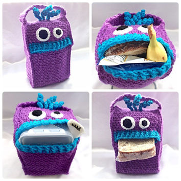 Lunch Monsters - Lunch Bag - Crochet PDF Pattern