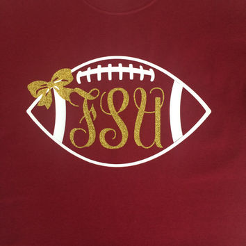 Custom/ Personalized Florida State University Gold Glitter Monogram Football Shirt With Bow-Seminoles-FSU-Fear The Spear-Chop-Go Noles