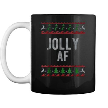 Cool Jolly AF Ugly Christmas Sweater Style Funny  Mug
