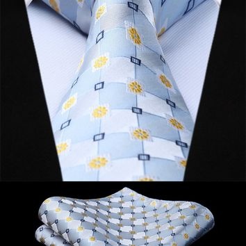 Party Wedding Classic Pocket Square Tie Woven Men Tie Yellow Blue White Flower Necktie Handkerchief Set#TF706B8S