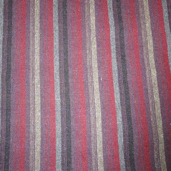 1 & 7/8 Yard Cut of 1980s Vintage Woven Wool Blend Striped Fabric, 56 Inches Wide, Dark Red, Gray, Brown Stripe, Home Sewing, Vintage Fabric