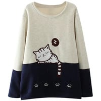 Cartoon Cat Embroidery Color Block Sweatshirt