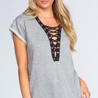 Brooke Lace Up Top - Grey