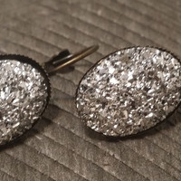 Druzy earrings-  Silver drusy bronze tone dangle druzy earrings