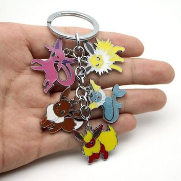W5286 Hot Eevee Pocket Monsters Cartoon Keychain Pocket Monster alloy Mini Figure pendants charms collection toy Key Ring