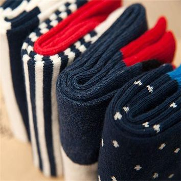 Mantieqingway Autumn and Winter Red Cotton Men Socks Casual Weather Tube Socks Gentleman Business Polka Dots Socks Accessories