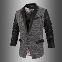 Leather Sleeve Designer Modern Men Style Blazer Jacket
