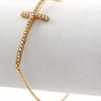 Rhinestone Cross chain bracelet Gold