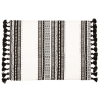Black & White Striped Placemat with Tassels | Hobby Lobby