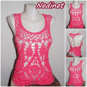 Ladies crochet top, blouse elegant, women  FREE shipping