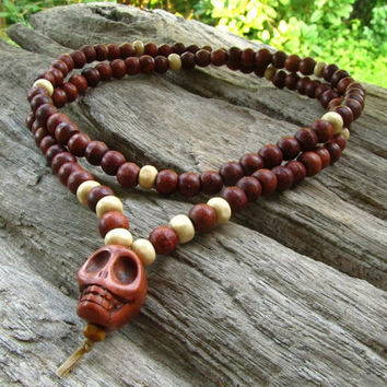 Skull 108 Mala Beaded Long Necklace / Surfer Hippie Boho Meditation Rocker Grunge Indie Steampunk Emo Festival Necklace / Men's Jewelry
