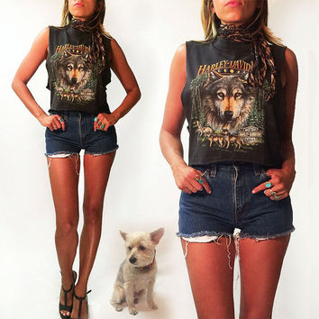 Vintage 90's Mystic Harley Davidson Wolf Tank With Lunar Moon Phases || Cropped Singapore Tee || Size Small Medium