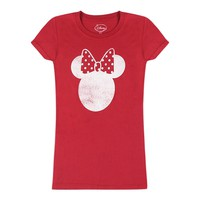 Disney Minnie Mouse Graphic Logo Design Printed Junior's T-shirt, Red
