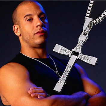 "*FREE SHIPPING* Fast and Furious Movie Dominic Toretto's Cross Necklace (Pendant + 26"" Chain)"