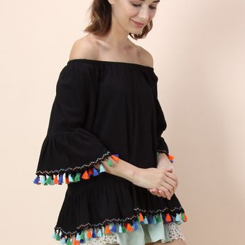 Rainbow Swinger Off-shoulder Top in Black