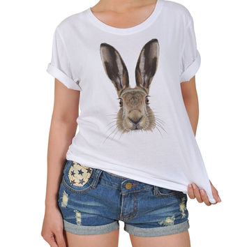 Women Portrait of Hare Graphic Printed Cotton T-shirt  WTS_12