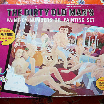 vintage 1970's The Dirty old Man's paint by number kit retro nude kitsch painting mature