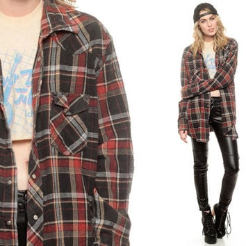 Pearl Snap Shirt Red Black Plaid Oversized Flannel Shirt 90s Grunge Western Checkered Button Up 1990s Vintage Men Plus Size Extra Large XL
