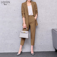 Brand Women Suit Business 2017 Spring Pant Suits Women Summer Business Suits Female Formal Work Wear Sets J17CT0020