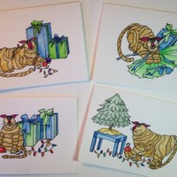 Christmas Cards, Set 4 Cards, Cats, Original, Watercolor, Not Prints