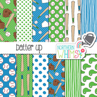 Baseball Digital Paper - blue & green boys sports scrapbook paper - hand drawn softball printable paper - seamless patterns - commercial use