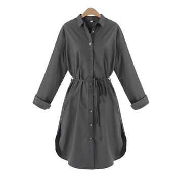 Women Long Sleeve Office Blouse Dress Button Down Casual Solid Empire Dress Summer