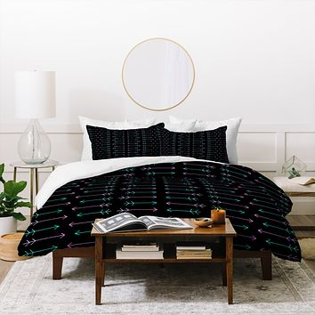Leah Flores Neon Warrior Duvet Cover