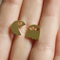 Gold Pac man Post Earrings, Pacman Jewelry, Pac man Studs, Computer Game, Geekery Jewelry, 80's- Handmade- Free Shipping- Ready to Ship