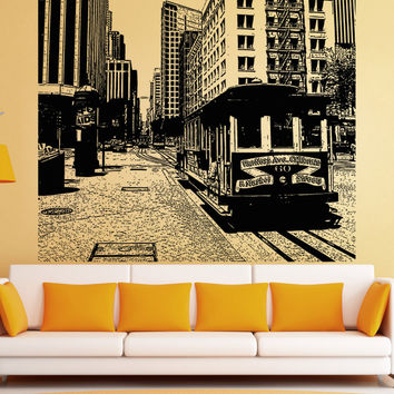 Vinyl Wall Decal Sticker Cable Car San Francisco #5217