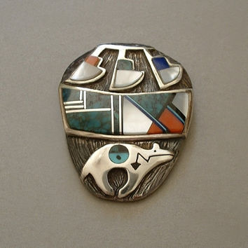 SIGNED Vintage Native American NAVAJO Brooch Turquoise, Lapis, Onyx, Mother Pearl Inlay Mosaic STERLING Pottery Bear Hallmarked c.1980s
