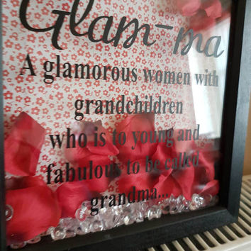 Handmade Glam-ma  black red crytals wooden  picture frame photo frame gift