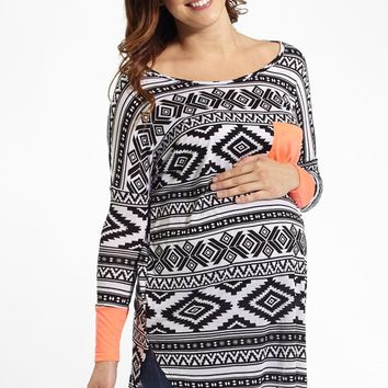 Coral Neon Colorblock Sleeve Tribal Print Maternity Top