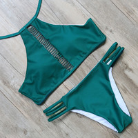 Green High Neck Bikini Bandage Cut Out Swimsuit Retro Halter Bikini Set
