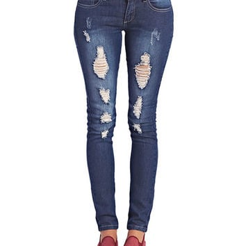 Destroyed Stretch Skinny Jeans | Wet Seal