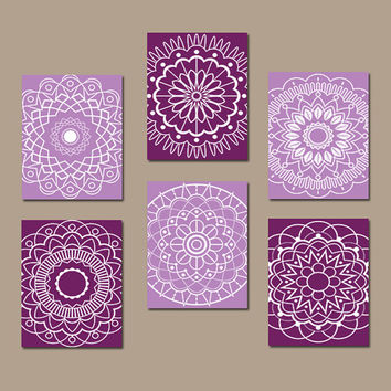 Purple Wall Art, Medallion Wall Art, Purple Bedroom Pictures, CANVAS or Prints, Bathroom Artwork, Mandala Design, Set of 6, Home Decor