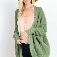 Sage Ribbed Open Cardigan with Pockets