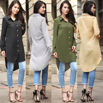 Long Sleeve Shirt Summer Women's Fashion Chiffon Jacket [10016923597]
