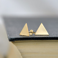 14k Yellow Gold Filled Triangle Earrings - Minimalist Geometric Stud Earrings - Minimal Modern Jewellery - Simple Everyday Jewelry