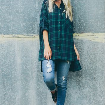 Plaid High-Low Tunic Green Multi
