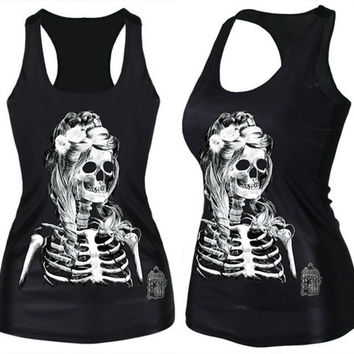 Women's Fashion Gothic High Quality Punk Tank Top Zombie Skull Bride Digital Print T-Shirt Clubwear (Size: M, Color: Black) = 1929531076