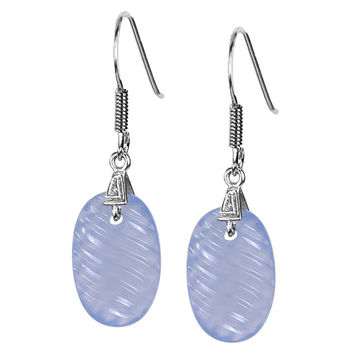 Oval Carving Chalcedony Earrings in Sterling Silver