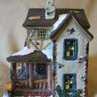 Santa's Workbench Prestwick Place-Towne Series Lighted Porcelain House, Christmas Village, Holiday Display, Decoration, Festive, Fun, Cute