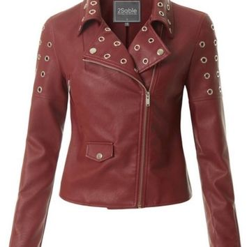 2Sable Studded Faux Leather Moto Jacket