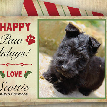 Pooch Photo Holiday Card ~ Christmas Scottish Terrier, Printable Modern Greeting, Custom Photocards, Red Green Stripes, Print Yourself