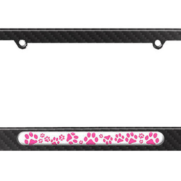 Paw Prints - Hot Pink License Plate Tag Frame - Carbon Fiber Patterned Finish