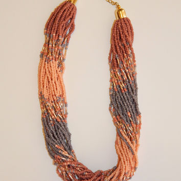 Seed Bead Necklace Set - Orange/Purple