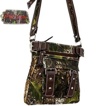 West Forest Camo Hipster Messenger Bag Cross Body Purse (Brown)
