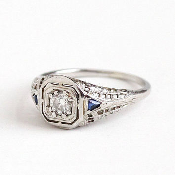 Sale - Antique 18k White Gold 1/5 CT Diamond Created Blue Sapphire Ring - Vintage Art Deco 1920s Size 7 1/2 Filigree Engagement Fine Jewelry