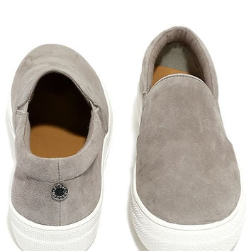 Steve Madden Gills Grey Suede Leather Flatform Sneakers